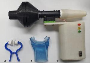 Nose clip (A), flanged silicone mouthpiece (B) and TrueForce-UFMG manometer (C).