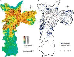 The distribution of dengue cases by temperature zones and slum-like areas. Land surface temperature (A), and slum-like areas (B) were geocoded using vector data (scale, 1/10,000). The area outlined in black is the main commercial and financial zone of São Paulo.