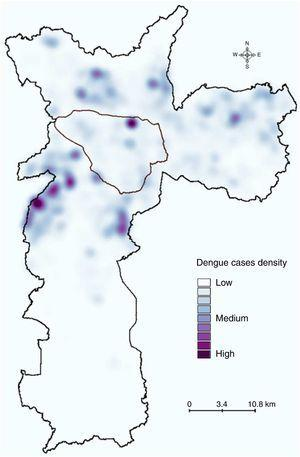 Kernel estimation of the distribution of dengue cases in São Paulo during 2010–211. A kernel map was built using the spatial point distribution of the 7,415 dengue cases reported during 2010–2011. The area outlined in black is the main commercial and financial zone of São Paulo.