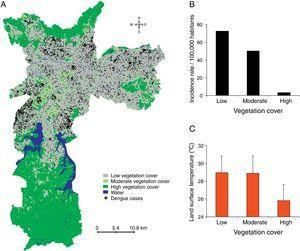 Dengue incidence by vegetation cover. (A) Dengue cases and vegetation cover areas were geocoded using geographical information systems. (B) The dengue incidence (cases per 100,000 inhabitants) and (C) land surface temperatures in the low, moderate, or high vegetation cover zones are shown.
