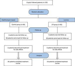Study flow chart (Control Group: Clarithromycin +Amoxicillin+Omeprazole regimen, Licorice (LR) Group: Licorice+Clarithromycin +Amoxicillin+Omeprazole).