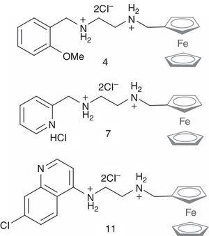 Ferrocenyl diamine hydrochlorides investigated in this work.16