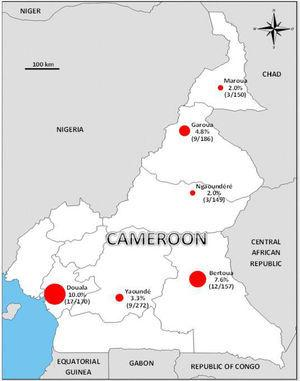 Seroprevalence of Zika virus in blood donors from six regions of Cameroon.