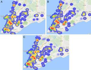 Spatial distribution of HIV-1 strains, according to the most frequent NRTI- associated drug-resistance mutations detected in genotyping tests in Salvador, Brazil. (A) Mutation 41L. (B) Mutation 215Y. (C) Mutation 210W.