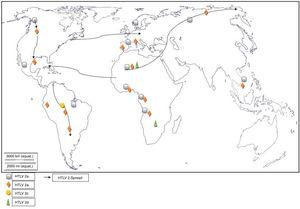 Global distribution and spread of HTLV-2 subtypes.