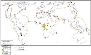 Global distribution and spread of HTLVs.