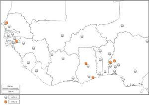 Distribution of HTLV-1 and 2 in West Africa.