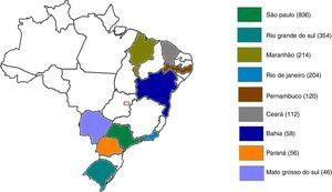 Number of patients with chronic hepatitis C in each Brazilian state included in the study.