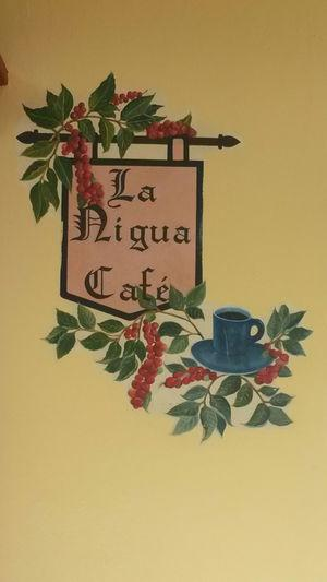 Name plate of a coffee shop in Popayan, Southwest Colombia, reflecting that tungiasis was common in the town. Nigua is a popular name in Spanish for the sand flea.