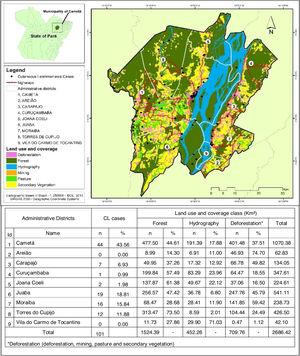 Environmental classification and spatial distribution of cutaneous leishmaniasis cases, 2007 to 2016, Cametá, Pará, Brazil.