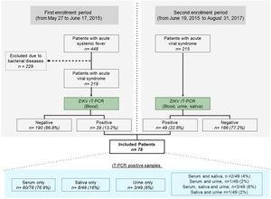 Flowchart detailing study design and results of PCR testing for ZIKV in biological fluids.