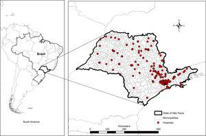 Spatial distribution of participant hospitals (n = 309). State of São Paulo, Brazil, 2008–2011. The coordinate system is Datum World Geodesic System (WGS 1984).