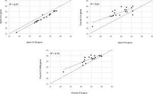 Correlation of Ct values between different assays and targeted SARS-CoV-2 genes for the positive samples (n=20).