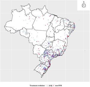 Georeferencing of cases according to patients treated for hepatitis C, and patients who achieved viral cure, Brazil, 2015 to 2018.