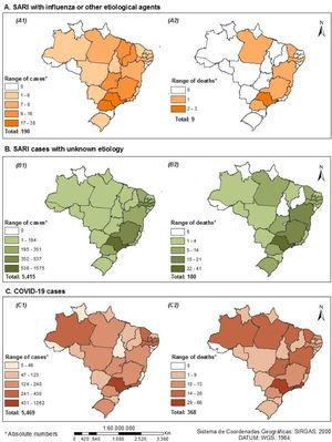 Distribution of cases and deaths due to SARIs among pregnant and recently pregnant women, by state, SIVEP-Gripe, Brazil, January-November 2020 (n=11,074) A. SARI with influenza or other etiological agents (A1-Number of confirmed cases; A2-Number of reported deaths). B. SARI cases with unknown etiology (B1-Number of confirmed cases; B2-Number of reported deaths). C. COVID-19 cases (C1-Number of confirmed cases; C2-Number of reported deaths).