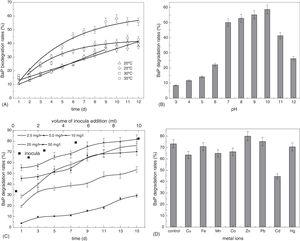 Effects of environmental factors on BaP biodegradation by Cellulosimicrobium cellulans CWS2 under anaerobic conditions. (A) Effect of temperature on BaP biodegradation. (B) Effect of solution pH on BaP biodegradation. (C) Effects of different initial concentrations and different volume of inocula addition on BaP biodegradation. (D) Effect of co-existing metal ions on BaP biodegradation. The initial BaP concentration was 25mg/L for all the batches in (A) and (B). The temperature was maintained at 35°C for all except in (A), and samples were measured at day 10 and 13 in (B) and (D), respectively. The solution pH was 7.0 in (C) and (D). The initial BaP concentration was 10.0mg/L in (D). The error bars represent the standard deviations of triplicate sample measurements.