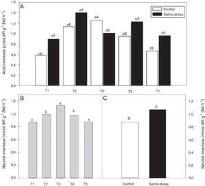 Activity acid invertase (*CV=7.87%) (A) and activity neutral invertase (*CV=4.52%) (B and C) in nodules in cowpea inoculated Bradyrhizobium sp. (T1) or co-inoculated Bradyrhizobium sp. and Actinomadura sp. (T2), Bradyrhizobium sp. and Paenibacillus graminis (T3), Bradyrhizobium sp. and Bacillus sp. (T4) and Bradyrhizobium sp. and Streptomyces sp. (T5), without and with salt stress induction (0 and 50mmolL−1 NaCl). Means followed the same letter lower (bacterial combinations) and capital (cultivation conditions) not differ statistically (p<0.05) according to Tukey's test. *Variation's coefficient.