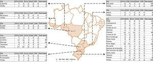 Map of Brazil. The map indicates the Brazilian federative state of origin of each sample describing the cities collected and number of positive samples for each evaluated virus. RS: Rio Grande do Sul&#59; SC: Santa Catarina&#59; PR: Paraná&#59; SP: São Paulo&#59; RJ: Rio de Janeiro&#59; MT: Mato Grosso&#59; RO: Rondônia&#59; AC: Acre.