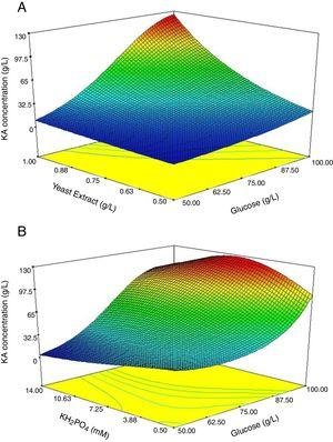 Response surface graphs of produced KA concentration (A) and (B) constant level of KH2PO4 and yeast extract concentrations at their optimum points, respectively.