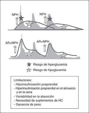 Pautas con 2 dosis de insulina NPH/NPL o mezclas fijas de NPH/NPL con insulina rápida o análogos de rápida (AR). Perfiles de insulinemia (rojo), comparados con los fisiológicos (gris), limitaciones y riesgos. HC: hidratos de carbono.