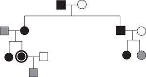 Árbol genealógico de la familia presentada. Círculo: mujeres; Cuadrado: hombres; Negro: pacientes afectados; Sombreado: no afectados.