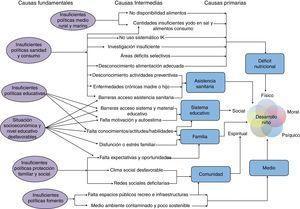 Propuesta de marco de determinantes del desarrollo global del niño. IK: yoduro potásico. Elaboración propia a partir de las referencias 3-6.