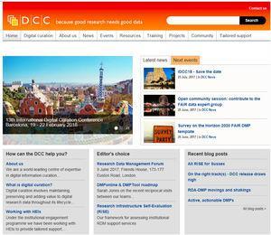 Página web del Digital Curation Center (Reino Unido).