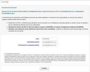 Forma de entrada a la encuesta de la Comunidad Autónoma del País Vasco.