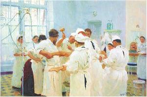 El cirujano E. Pavlov en el quirófano, Repin, 1888.
