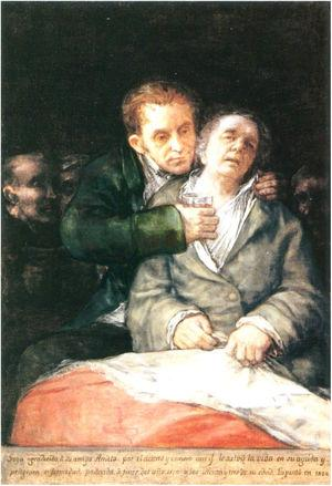 Goya atendido por el Dr. Arrieta, Goya, 1820.