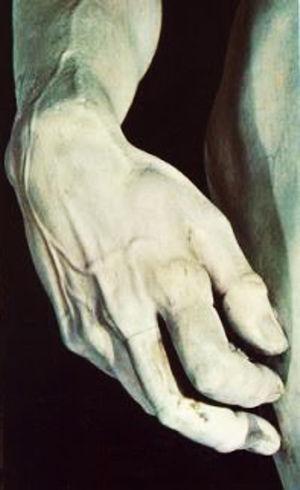 Presencia de nódulo de Garrod en el primer dedo de la mano derecha del David de Miguel Ángel.