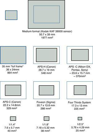 Relative sizes of various types of digital camera sensors. Adapted from: http://en.wikipedia.org/wiki/Image_sensor_format [Accessed on 20 August 2011].