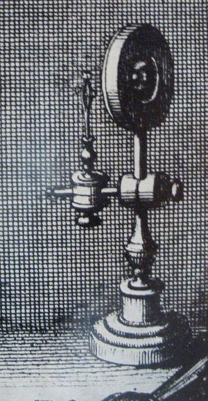 Beautiful rendering of a primitive single-lens microscope. This detail, from an engraving by the Valencian microscopist Crisóstomo Martínez, dates from the second half of the 17th century.