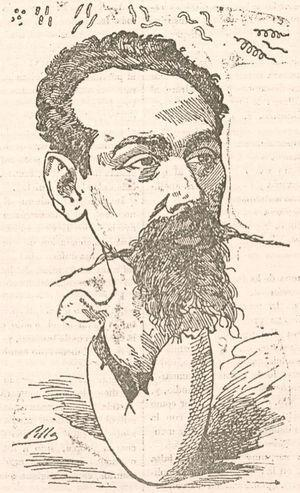 Caricature of Antonio Mendoza, microscopist at Hospital de San Juan de Dios in Madrid, published in a magazine of medical satire, El Doctor Sangredo. The egg Mendoza is hatching from is a reference to cytology, and bacteria (cocci, rods, and spirilla) can be seen along the upper edge of the drawing.