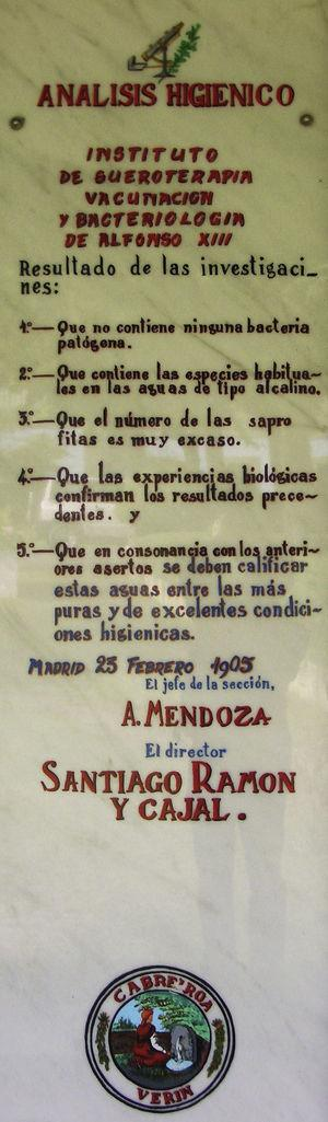 Plaque commemorating an analysis of the waters at the Cabeiroá spa in Verin, in the province of Ourense, in 1905. Antonio Mendoza signed the analysis in his capacity as a member of the staff of the Instituto Alfonso XIII, directed by Santiago Ramon y Cajal.