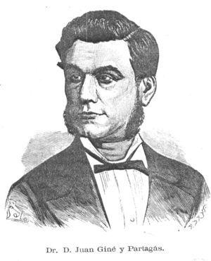 Portrait of Juan Giné Partagás in the publication Anfiteatro Anatómico Español. A physician with many talents who applied himself to dermatology, surgery, and psychiatry, Giné Partagás published a book on dermatologic surgery that contained beautiful illustrations of the skin.