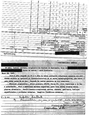 Records for a prisoner in Guatemala, from the John C. Cutler archive. Source: National Archives and Records Administration, United States.