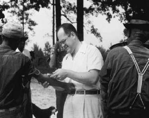 Conducting a physical examination during the Tuskegee study. Source: National Archives and Records Administration, United States.