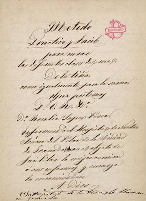 First page of the manuscript written by Doña Rosalía López Perea. Notice the library seal of Dr. Benito Hernando Espinosa, who was a distinguished Granadan dermatologist. Library of the Faculty of Medicine, Universidad Complutense de Madrid.