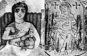 On the left, Isis nursing Horus in a third-century Coptic depiction. On the right, an image of the Virgin and Child carved on a fifth-century Egyptian tomb.