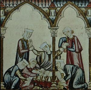 This highly detailed illustration for Cantiga 105 shows the moment when the woman's genitals are mutilated by her husband with a blade while she is held firmly by women dressed in the Islamic fashion. The image comes from the Rich Codex (Códice Rico) of the Cantigas of Holy Mary of Alfonso X the Learned. The codex is held in the library of the Monastery of El Escorial and is reproduced here with permission. © by Patrimonio Nacional.