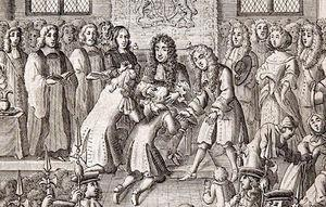 Illustration of Charles II of England extending the royal touch. This king is estimated to have performed the ceremony with some 92000 patients with scrofula over the course of his reign. Engraving by Robert White (1864). The image, in the public domain, is available from https://en.wikipedia.org/wiki/royal_touch.