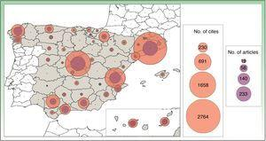 Map of scientific output and impact of research in clinical medicine in dermatology according to Spanish provinces. The numbers of publications and cites accumulated are represented by proportional concentric circles.