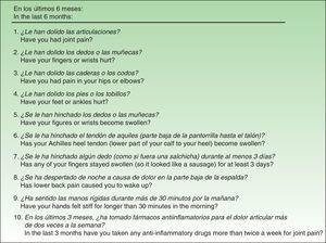 Items in the Spanish version of the Early Arthritis for Psoriatic Patients questionnaire after translation and cultural adaptation. (Translator's note: The non-validated English translations shown below each Spanish item are for information purposes only.)