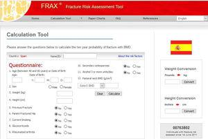 Calculation of the risk of fracture according to the Fracture Risk Assessment Tool (FRAX®) for Spain (https://www.sheffield.ac.uk/FRAX/tool.aspx?country=4).