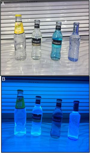 Three different commercial brands of tonic water (A) were exposed to ultraviolet light (B).