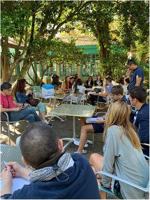 Image of the meeting on Critical Reading of Articles, held on the island of San Simón, on the Vigo Ria, on September 4, 2019.