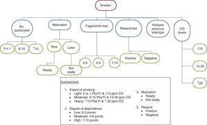Algorithm for diagnosing smoking in smokers with recently diagnosed COPD.