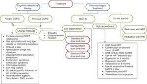 Algorithm for therapeutic intervention in smokers with COPD. BP: bupropion; NRT: nicotine replacement therapy; VRN: varenicline.