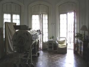 Room in the Ferrer Home in Buenos Aires. The iron lung can be seen in the foreground.